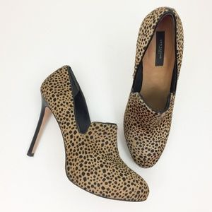 ANN TAYLOR Leopard Calf Hair Stiletto Loafer Pumps